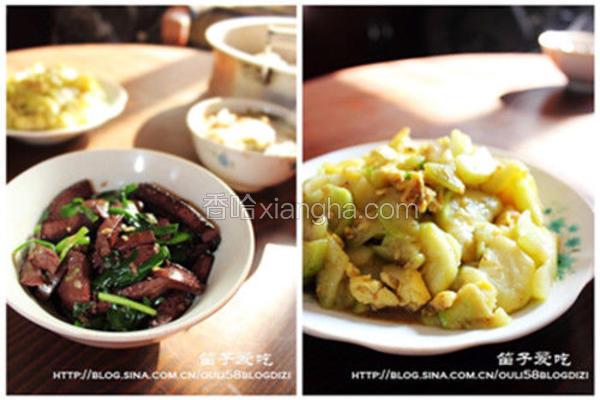 韭菜炒猪血and西葫芦炒蛋