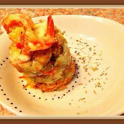 酒烹虾配龙利鱼黄油杂菜土豆泥的做法[图]