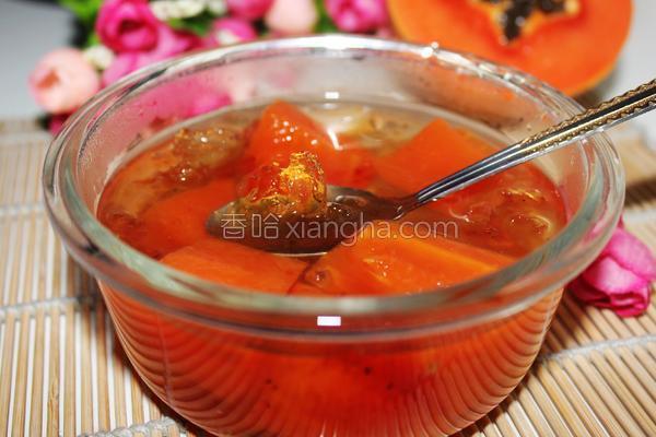 桃胶炖木瓜的做法
