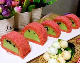 蜜豆抹茶红丝绒蛋糕卷