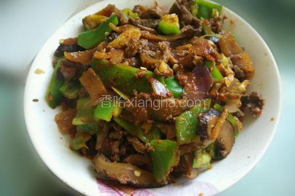 青椒洋葱炒香菇羊肉