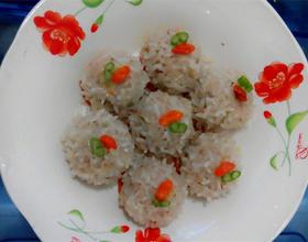 胡萝卜肉馅糯米珍珠丸