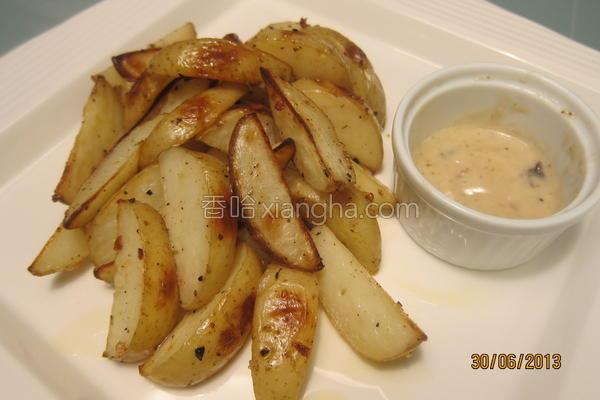 烤蒜味马铃薯块的做法