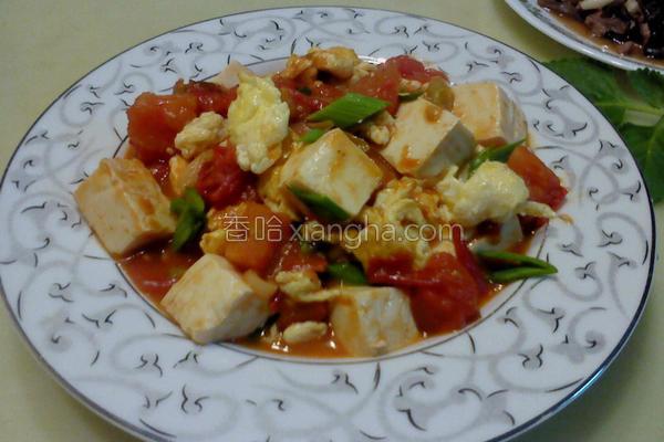番茄豆腐炒蛋的做法
