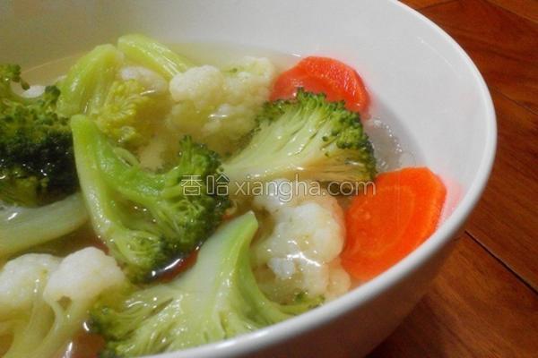 双花椰菜胡萝卜汤的做法