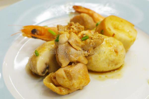 蘑菇鸡丁虾的做法