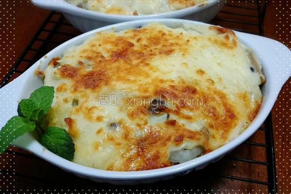 奶油白菜菇菇焗饭的做法