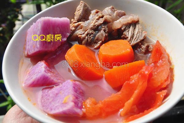 紫山药时蔬炖牛肉的做法