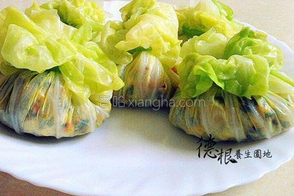 素食高丽菜福袋的做法