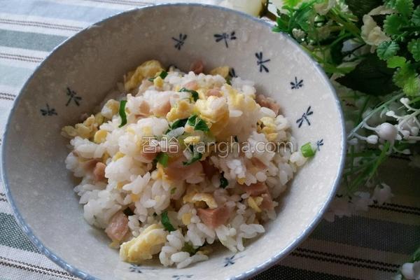 香葱菜圃蛋炒饭的做法