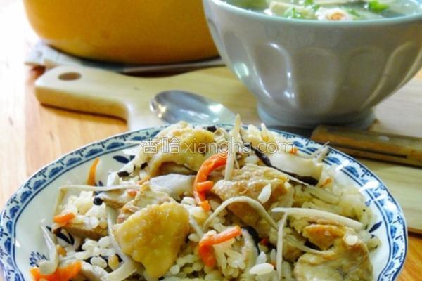 牛蒡鸡肉香菇炊饭的做法