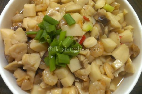 笋块菇头烩海中鲜的做法