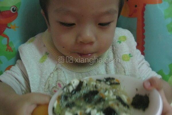 丝瓜紫四季豆腐粥的做法