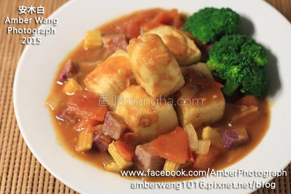 绿咖哩炸豆腐蔬食的做法