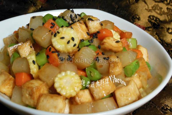 双色萝卜炒豆干的做法