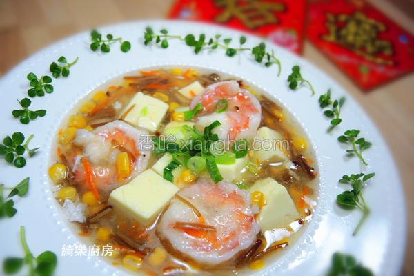 鲜虾豆腐羹汤的做法