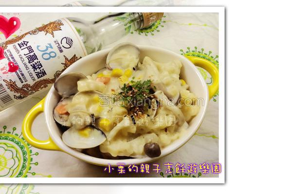 酒香白酱蛤蜊焗面的做法