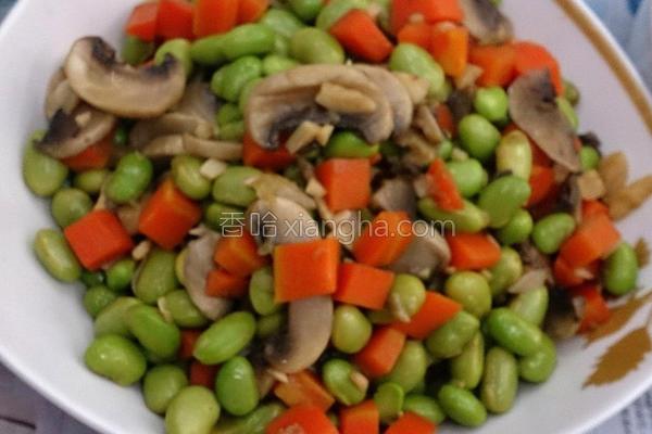 毛豆炒蘑菇的做法