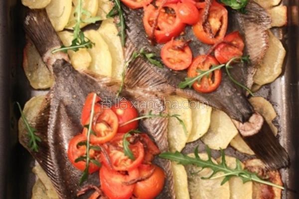 番茄鳀鱼烤比目鱼的做法
