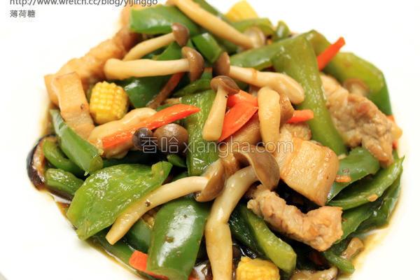 菇菇青椒炒肉丝的做法