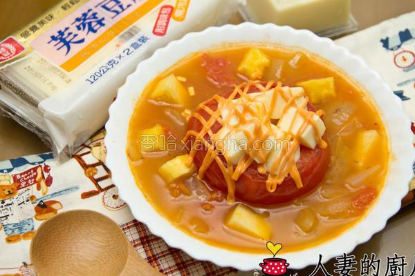 意式番茄豆腐汤的做法