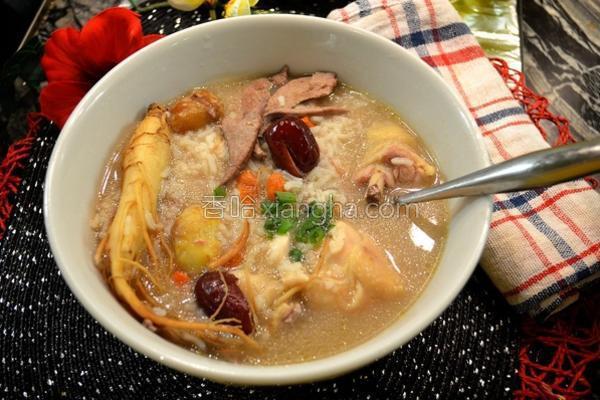 人参红枣栗子鸡粥的做法