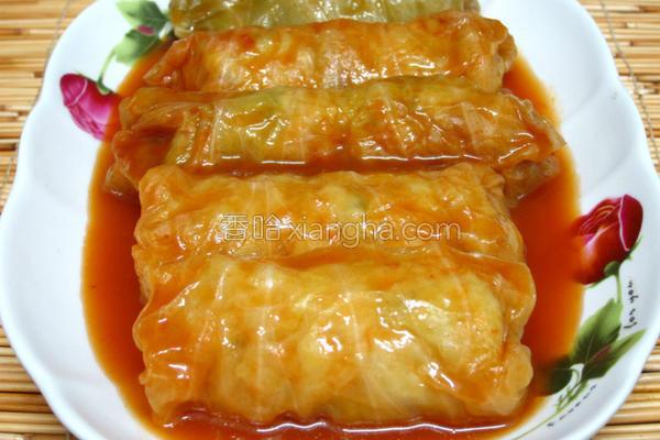 茄汁高丽菜卷的做法