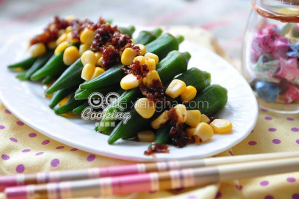 红葱肉酱拌秋葵的做法