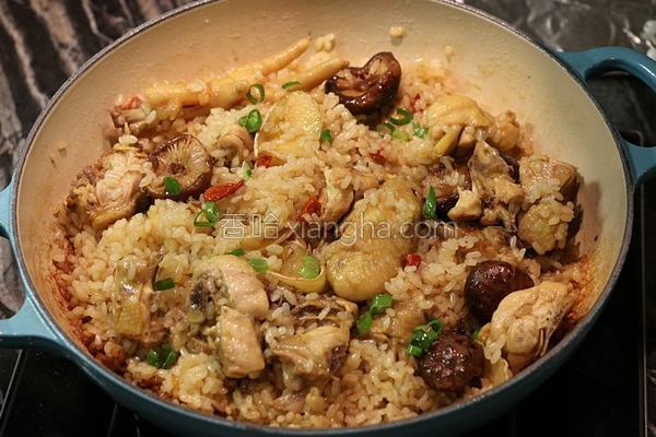 麻油香菇鸡炖饭的做法