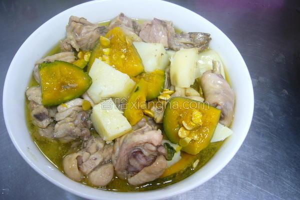 南瓜马铃薯炖鸡汤的做法