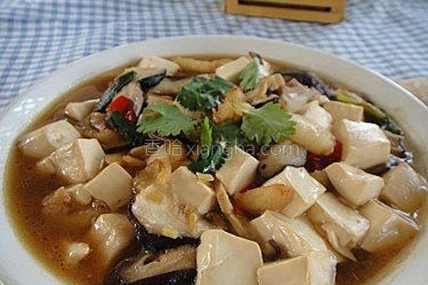 蟹脚肉烩豆腐的做法