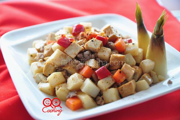 肉末豆干炒笋丁的做法