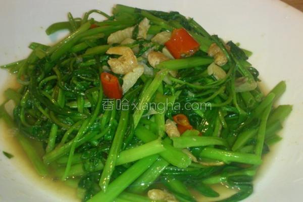 虾酱空心菜的做法