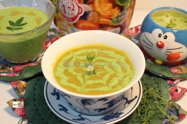 地瓜咖哩翡翠浓汤的做法