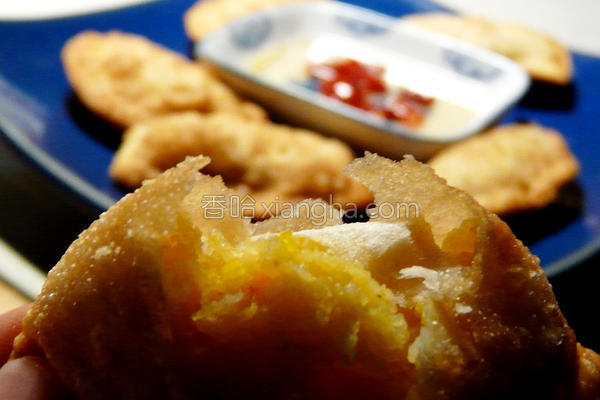 南瓜虾仁月亮饺的做法