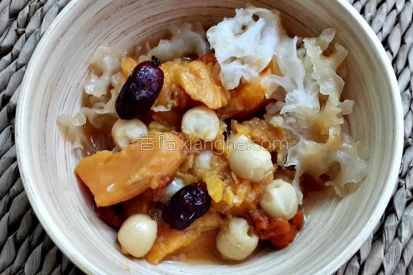 地瓜莲子木耳甜汤的做法