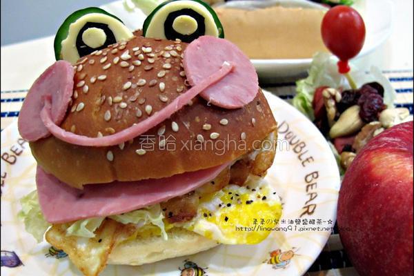 火腿青蛙汉堡的做法