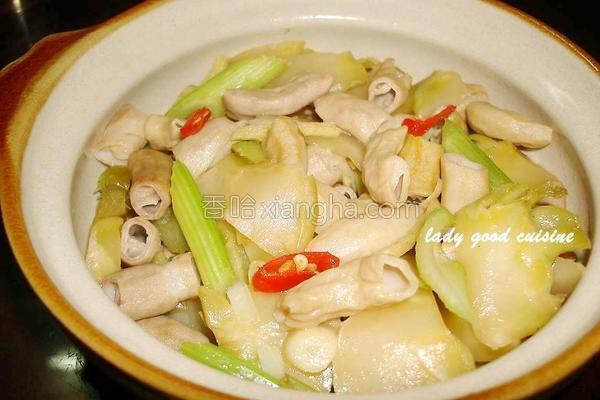 榨菜辣炒猪肠的做法