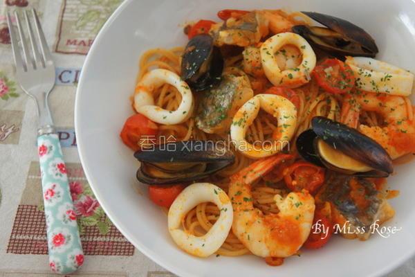 韩式海鲜意大利面的做法