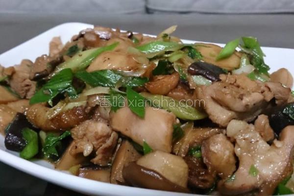 蚝油蒜苗双菇鸡的做法