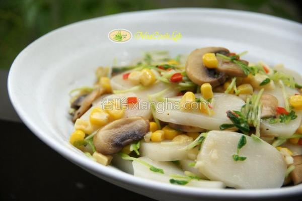 风味蘑菇炒年糕的做法