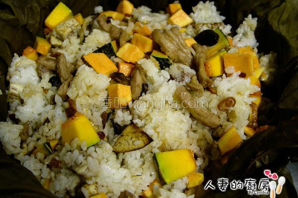 芋香时蔬荷叶饭的做法
