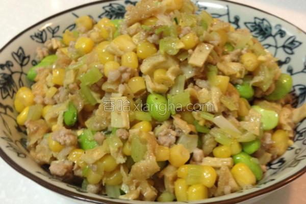玉米炒绞肉的做法