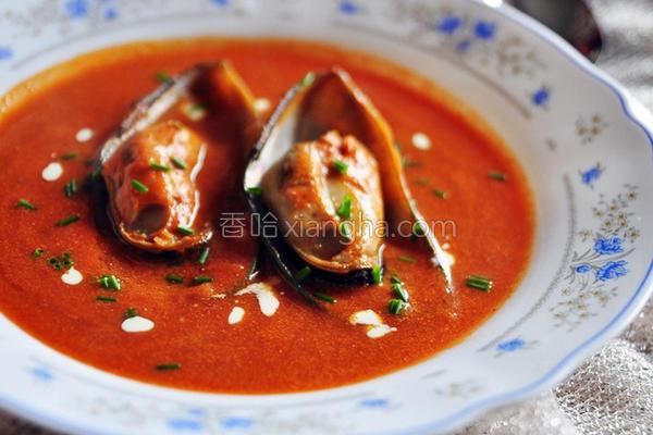 番茄淡菜奶油浓汤的做法