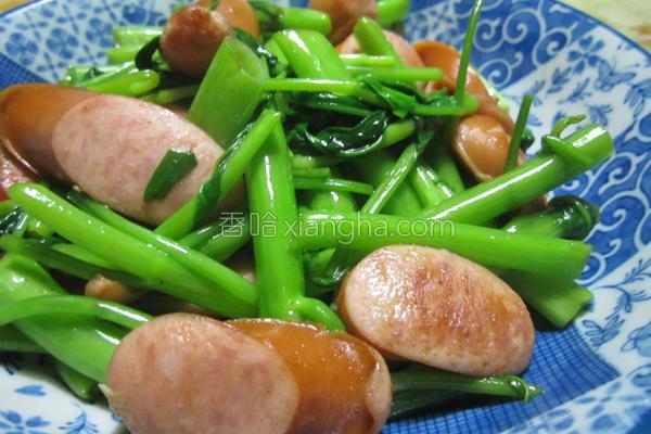 清炒Q肉丁空心菜的做法