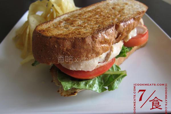 烤鸡BLT三明治的做法