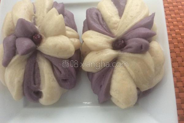 紫薯莲花包的做法