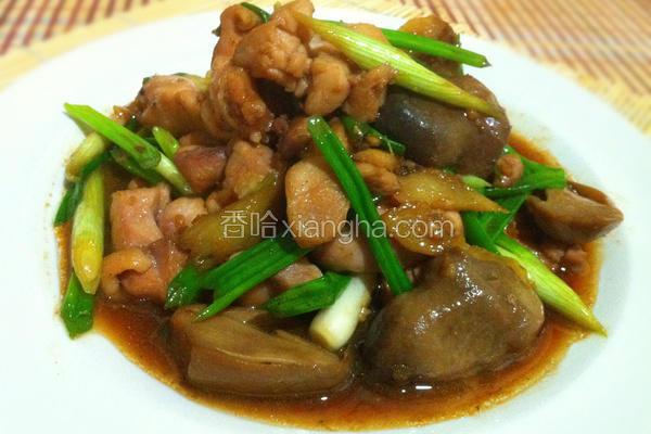 姜葱草菇炒鸡腿