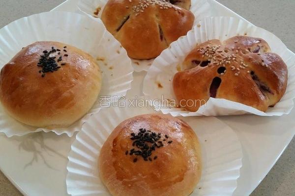 红豆/紫薯甜面包的做法