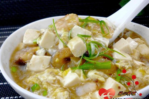 虾仁滑蛋豆腐的做法